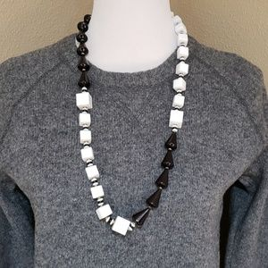 Vtg Miriam Haskell black & white necklace signed